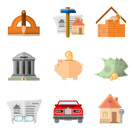 augmentation: Set of flat icon design and buiding house ern and multiply money and result