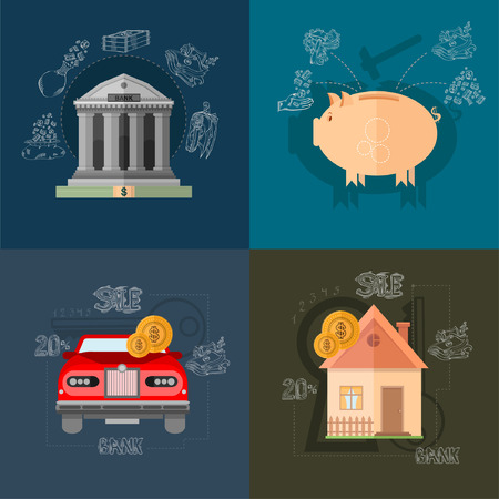 time account: four flat design vector illustrations on different backgrounds with financial operation deposit and purchase house and car