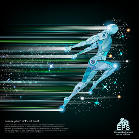 runing: background with cyborg flying or runing with speed of light and motion blur track back for it