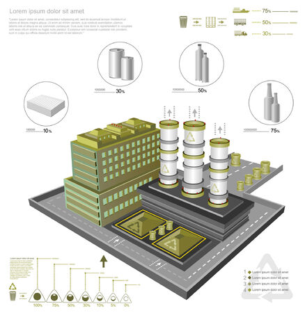 infographic with recycling factory and processing facilities Vector