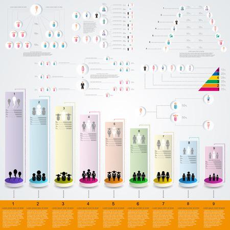 pensioen: set van platte ontwerp van de sociale infographics geboortecijfer pensioen- en andere levenscyclus