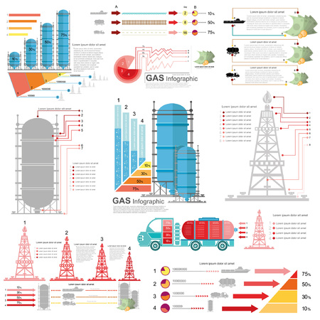 mining ship: set of flat design of gas and gas rig infographics gas production delivery and gas storing