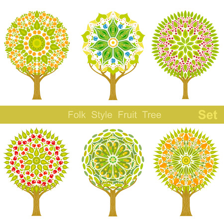 set of flat cartoon folk style fruit trees  Vector