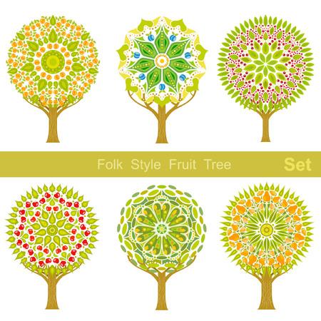 apricot tree: set of flat cartoon folk style fruit trees  Illustration