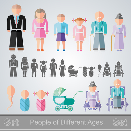 retiree: set of flat design different age isolated people from infant to retiree