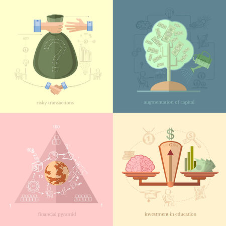 bank book: Flat design vector illustration concepts of finance and business, icons for finance and business risky transactions financial pyramid investment in education augmentation of capital Illustration