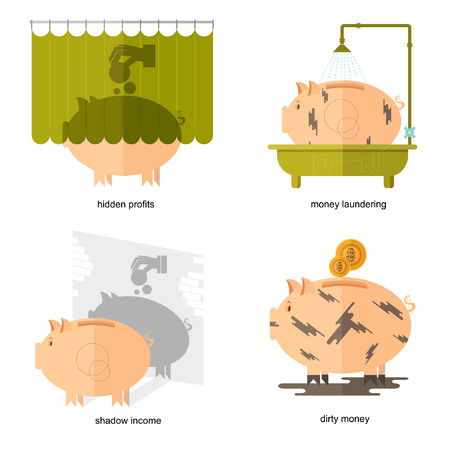 money laundering: Flat design piggy bank icons vector illustration concepts of finance and business,piggy bank icons for finance and business hidden profits shadow income dirty money money laundering
