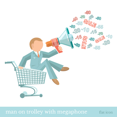 75 80: flat concept illustration man on trolley with megaphone