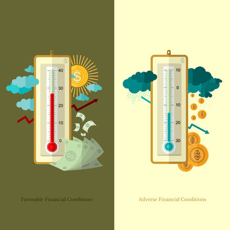 adverse: flat design business illustration favorable and adverse financial conditions for example weather