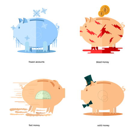fast money: Flat design piggy bank icons concepts of finance and business on white,frozen accounts, fast money, blood money, solid money