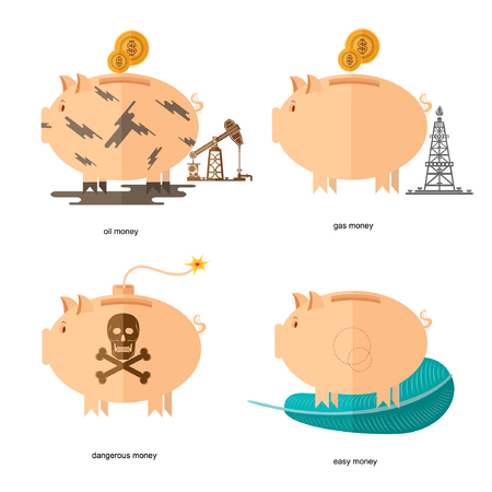 deficit: Flat design piggy bank icons concepts of finance and business on white,oil accounts, gas money, easy money, dangerous money Illustration