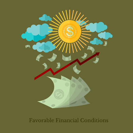 favorable: flat design business illustration favorable financial conditions for example weather