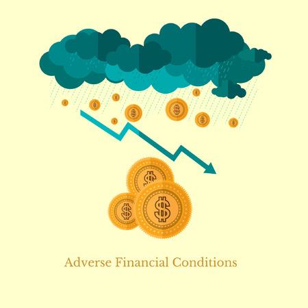 adverso: plana dise�o ilustraci�n negocio condiciones financieras adversas, por ejemplo, el clima