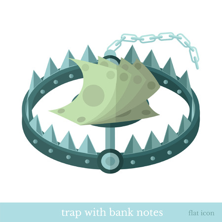 riskiness: ftat icon trap with bank note isolated on white Illustration
