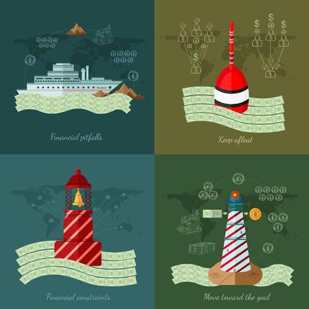 �ber Wasser: Flache Design Vektor-Illustration Konzepte f�r Finanzen und Wirtschaft, bewegen finanzielle Fallstricke Finanz constrints auf das Ziel �ber Wasser zu halten