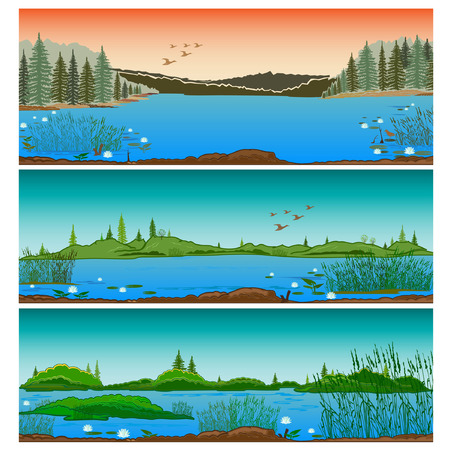 lake shore: three horizontal river landscapes with forest hills  and  reeds Illustration