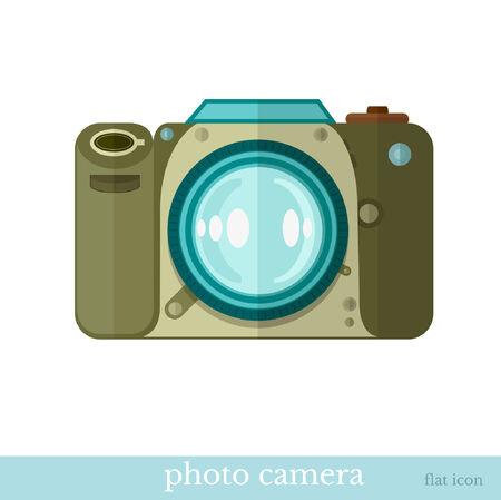 technics: flat icon camera object on white