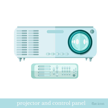 flat icon projector and controle panel object on white
