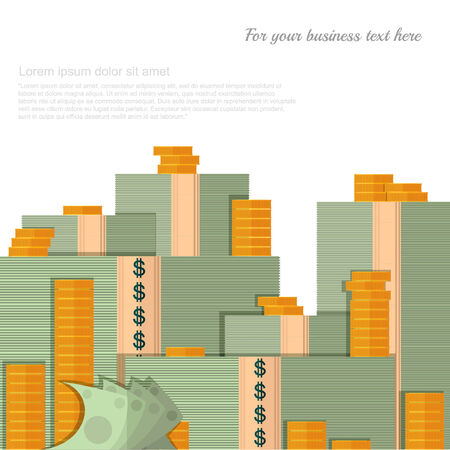 money pile: flat finance background with pile of money and coins on white Illustration