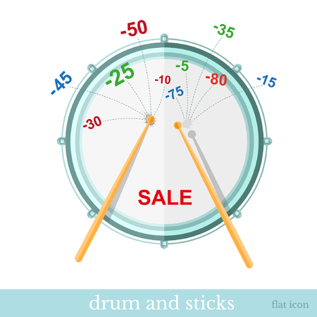 75 80: sticks hit drum and discounts fly out Illustration