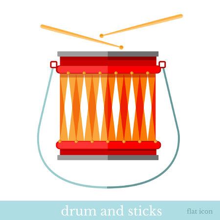 drum and sticks flat icon on white