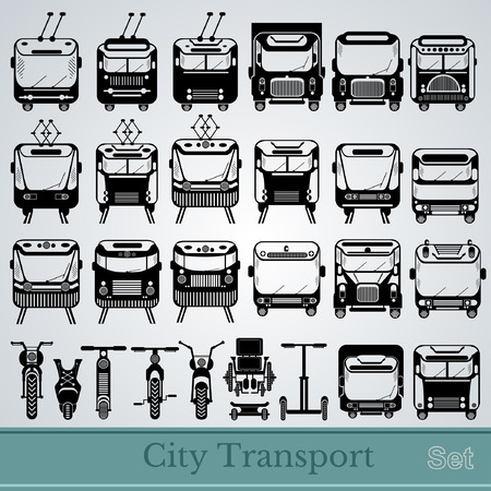 trackless: set of city transport front view black silhouettes
