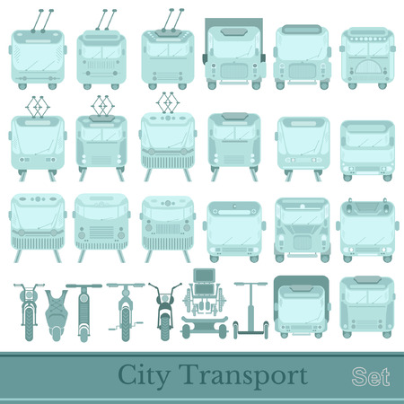 trackless: set of city transport front view silhouettes