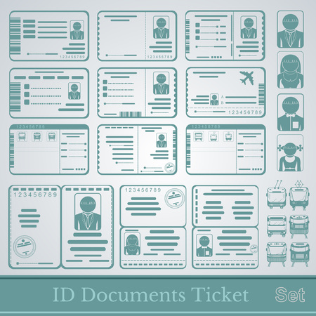 set samples of documents cards tickets and certificates Vector