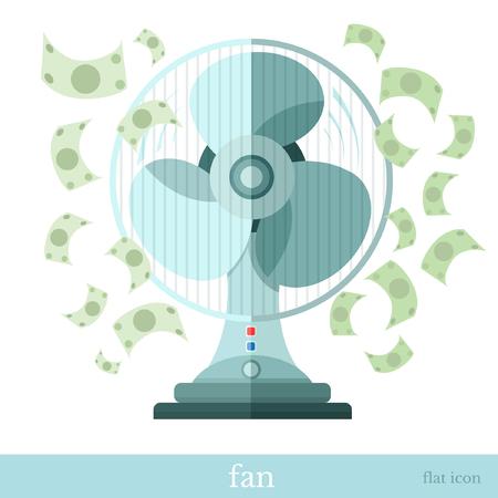 flying money: ventilador o respirador con el dinero del vuelo