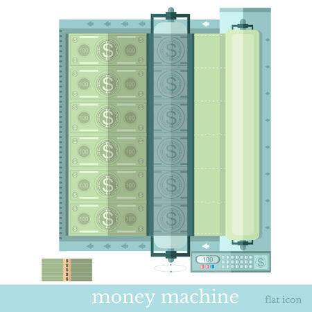 augmentation: money machine, flat design Illustration