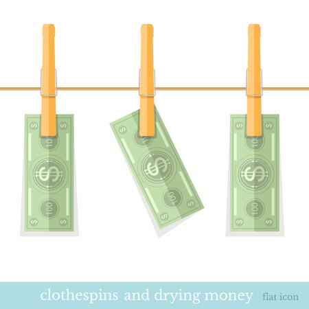 augmentation: money dry on the rope flat design