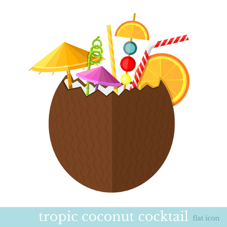 freshens: tropic coconut cocktail flat design