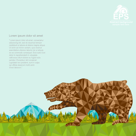 horizont: crumpled paper background with bear and forest and mountines on horizont