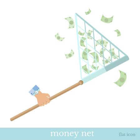augmentation: flat hand with net catch money Illustration