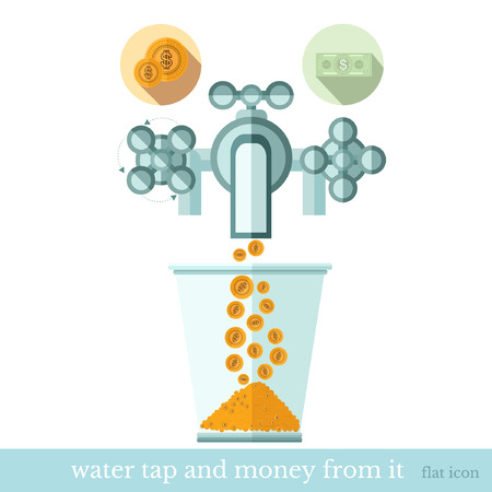 augmentation: flat concept business icon gold coins flows from the water tap to glass