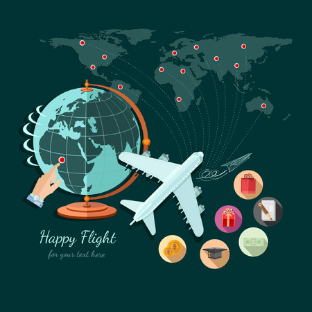 permit: Flat design illustration of tourism and travel, globe and plane fly on other part of world