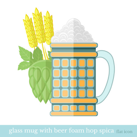 flat glass mug of beer with foam cone of hop and spicas Vector