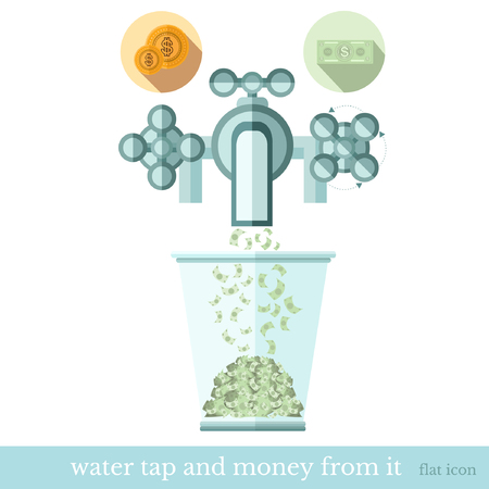 augmentation: flat concept business icon bank note flows from the water tap to glass Illustration