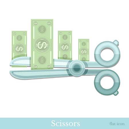 augmentation: flat concept business icon scissors cut money bank note
