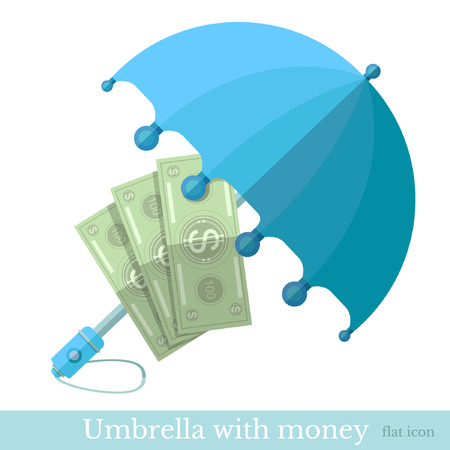 deposite: flat concept business icon money protected umbrella