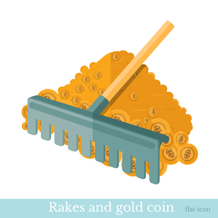 deposite: flat concept business icon rake in the money gold coin