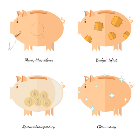 likes: Flat design piggy bank icons vector illustration concepts of finance and business,money likes silence revenue transparency budget deficit clean money
