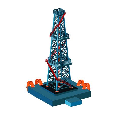 oil derrick tower on white Vector