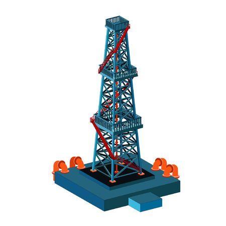 natural gas production: oil derrick tower on white