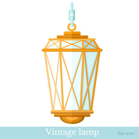 gas lamp: flat icon vintage gas lamp isolated on white