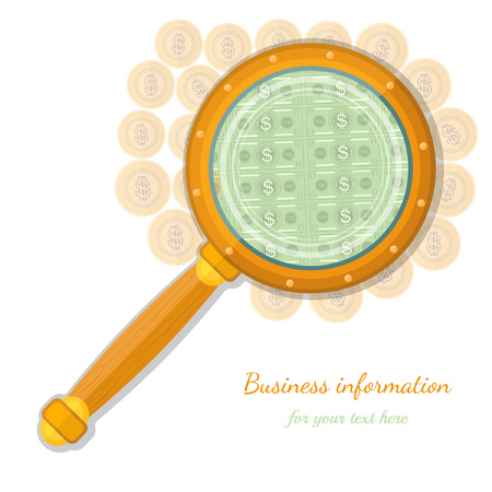 augmentation: flat concept business icon gold coins throught magnifying glass Illustration
