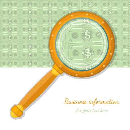 augmentation: flat concept business icon bank note throught magnifying glass