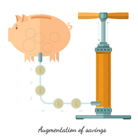 augmentation: Flat design vector illustration concepts of finance and business, augmentation of saving piggy bank and pump