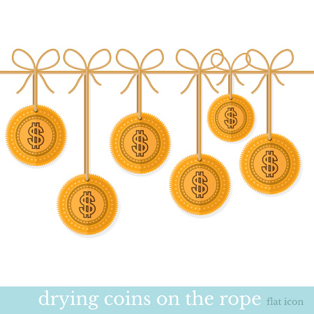 augmentation: gold coin dry on the rope flat design concepts illustration of finance and business Illustration