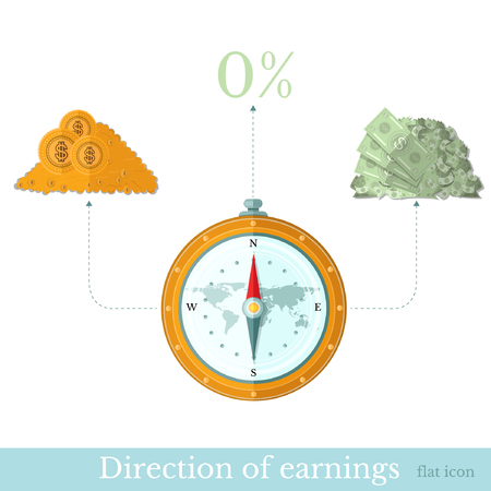 augmentation: Flat design vector illustration concepts of finance and business, compass and directions to gold and bill Illustration